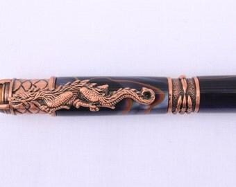 DRAGON BALLPOINT PEN, Antique Copper and Acrylic Twilight Racer Barrel Twist Pen (1927)