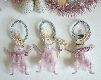 Easter Bunny Ornaments / Chenille Easter Bunny / Set Of 3