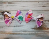 Princess Hair Bow Piggie Set/Princess Cotton Fabric Hair Bows/Infant, Toddler, Girls Small Pink Princess Hair Bow Piggies Set of 2