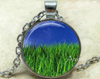 Green grass blue sky art pendant, grass necklace, grass jewelry, grass pendant, blue sky necklace, blue sky pendant, Pendant #SP143P