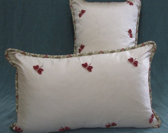 A Pair of Silk Embroidered Pillow Covers with Butterflies