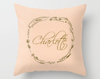 Personalized Blush Gold Floral Wreath Throw Pillow Cover, personalized pillow, name throw pillow, pink gold pillow, blush pink pillow