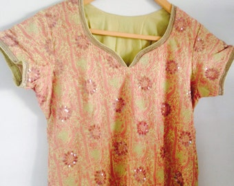 Beige pink tunic -embroiderd with shawl