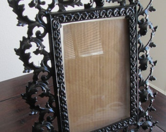 HEAVY Bronze Black Dore Baroque Style Standing Picture Frame FRENCH ANTIQUE