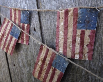 Primitive American Flag Bunting Genealogy Gift Patriotic Bunting Banner Primitive Decor