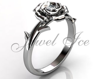 Flower Engagement Ring - 14k white gold diamond unusual unique rose flower engagement ring, wedding ring, anniversary ring ER-1111-1