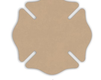 """Unfinished Mdf Firefighter Maltese Cross Cut Out Shape - 6"""" to 12"""" Inches"""
