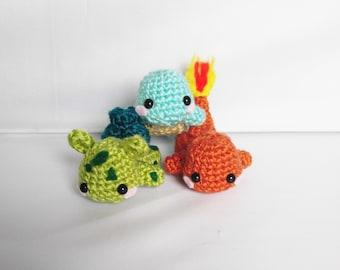 Poke'mon Starter Stackers Amigurumi Pokemon Crochet Pokemon Kanto Starter