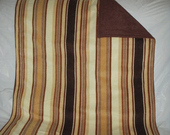 Pet Blanket - soft and warm brown and tan striped print fleece with solid brown on the reverse side