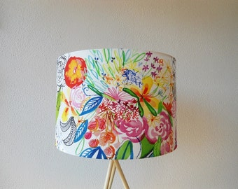 Colorful drum lampshade, colorful fabric lampshade, floral lampshade