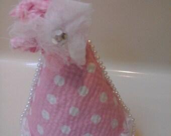 Pink birthday hat shabby chic
