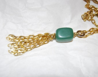 Aventurine Long Statement Necklace Pendant Necklace