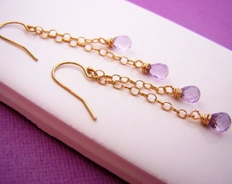 Amethyst Earrings - Gold Filled Earrings - Chain Earrings - Purple Earrings - Dangle Earrings - Gold Earrings - Teardrop Earrings - Gift