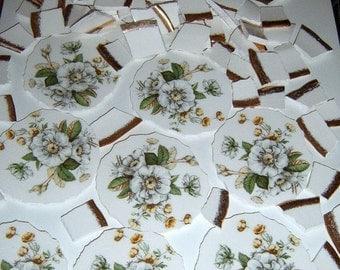 Broken China, Mosaic Pieces, Mosaic Focal, White Roses, Mosaic Supplies, Handcut