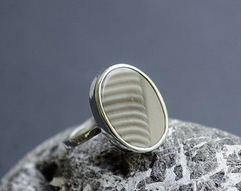 Handmade silver ring with natural Flint.