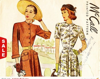 1 Day Sale - McCall 7900 Vintage 1940s Dress with Pockets and Sleeve Variation Sewing Pattern Sz 18