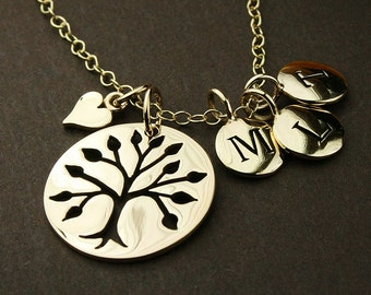 Gold tree of life necklace, personalized letter necklace family tree necklace, tree of life, initial necklace for mom, initial necklace gold