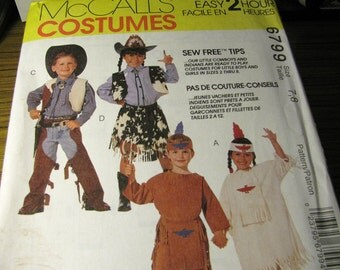 Vintage McCalls 6799 Halloween Costume Sewing Pattern - Boys or Girls Size 7, 8 - Cowboys and Indians Costume Pattern - Never Used