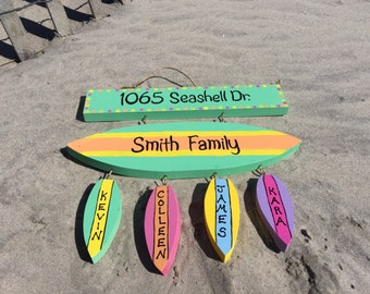 Surfboard beach name and address sign