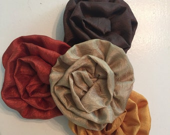 Shades of Fall Satin Rolled Flowers,set of four
