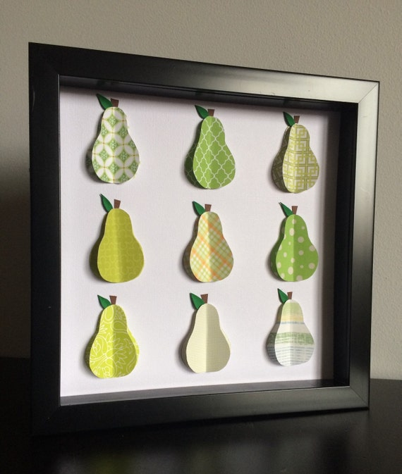 Green Pear, 3D paper art