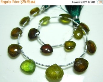 "MEGA SALE Multi Green Brown Garnet Faceted Heart Briolette- 8"" Strand -Stones measure- 9-11mm"