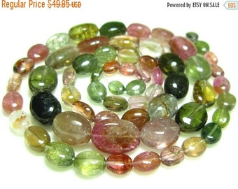 "BIG SALE Tourmaline Smooth Oval Nuggets- 14"" Strand -Stones measure- 4-8mm"