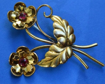 Vintage Pin Brooch Flower Gold Filled Garnet 1950s