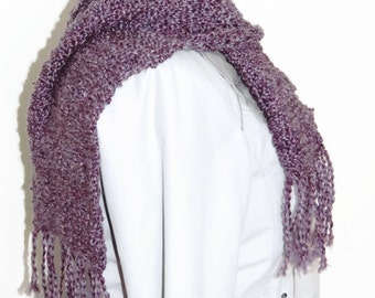 Knitting scarf, purple scarf, tasselled fashion scarves, hand knitted scarf, scarves UK
