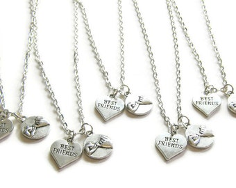 best friend gift two charm necklaces two best friends bff two