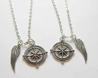 2 Compass Angel Wing Friends Necklaces, Couples Necklaces, Sisters Necklaces, Compass Necklace, BF GF Neckaces, Two Best Friends Necklaces