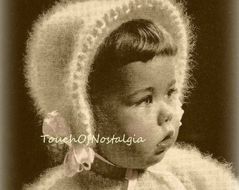 ANGORA BONNET Knitting Pattern - Fits 1 to 2 Yrs - Charming ANGORA Bonnet With Ribbon Laced Brim / Special Occasion