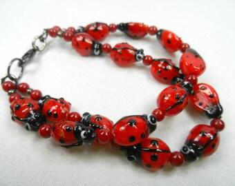 Ladybug, Ladybug, Where are You? Lampwork Bracelet in Gunmetal for 7.5 inch Wrist