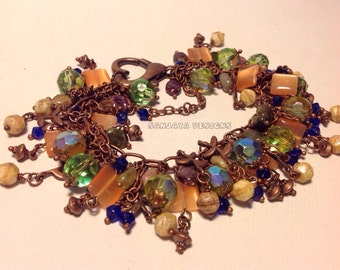 Copper beaded charm bracelet.