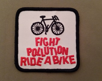 fight pollution ride a bike embroidered patch