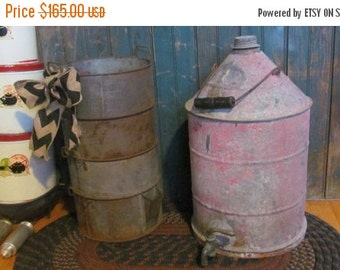 SALE Tin Spouted Jug Maple Syrup Bucket Old Country Store Display Antique Farmhouse Primitive Kitchen Decor