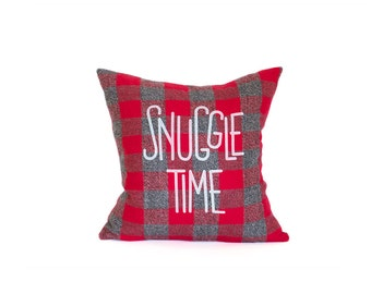 Snuggle Time Pillow - Red, Grey & White Check Colors - Custom Printed Kona Cotton with Cozy Check Flannel Back