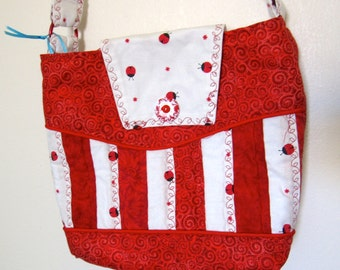Red and White Quilted Ladybug Purse