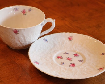"Spode Bone China ""Forget Me Not"" Pattern Y2999 Embossed Teacup and Saucer"