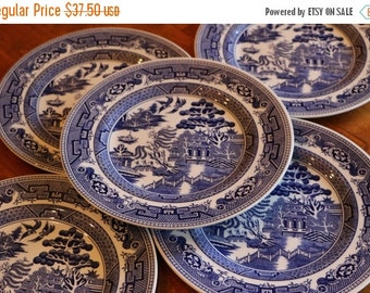 "SUMMER SALE John Tams English Earthenware ""Blue Willow"" Blue and White Transferware Pattern Set of Five Salad Plates"