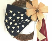 Patriotic Wreath, Patriotic decor, Primitive Wreath, American Flag Wreath, Memorial Day Wreath, Military Wreath, 4th of July Wreath