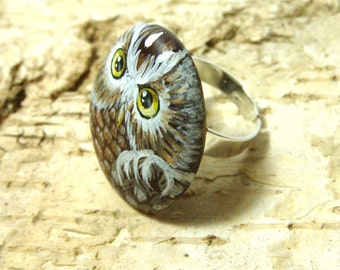 Hand painted rock ring brown owl, wearable art