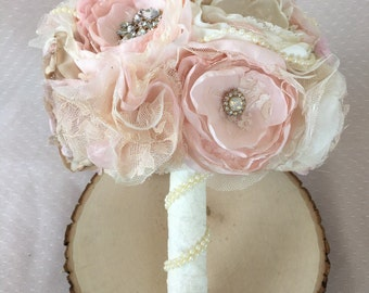 Blush and lace fabric bouquet, brooch fabric flower bouquet