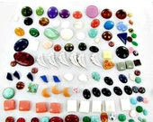 This item is ON SALE Flat Back Cabochons 100 Jewelry Making Vintage Supplies large oval glass plastic crafts stones
