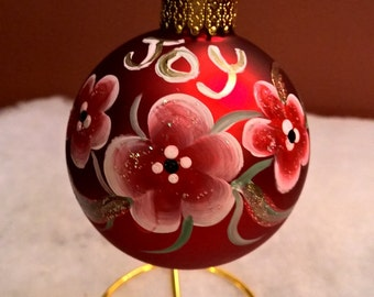 Hand Painted Red Glass Joy Christmas Ball Flowers by Sally  T Crisp Free Gift Wrap