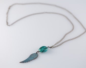 Angel Wing Long Necklace,33, Turquoise  Necklace, Handmade,Gem, Handcrafted