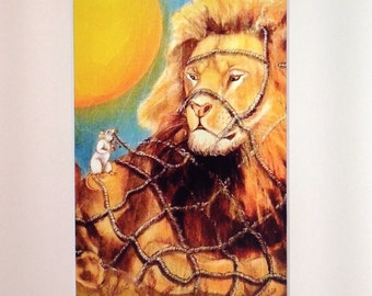 PRINT - The Lion and Mouse, from original art
