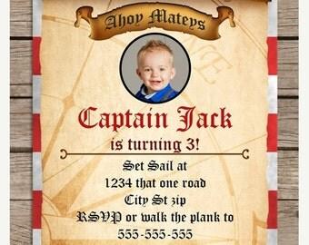SALE Printable Pirate Treasure Map Birthday Invitation, Picture Custom Red Stripes PDF JPG Birthday Invite 4x6 5x7