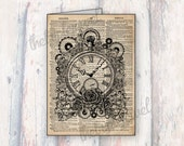 Pocket Watch Note Cards, Greeting Cards, Birthday Card, Shabby Chic, Rustic, Vintage, Prints, Dictionary Art, Paper, Steampunk