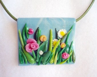 Vibrant blooming meadow, spring flowers, spring pendant, unique artistic jewel,  air dry clay, cold porcelain, spring jewelry